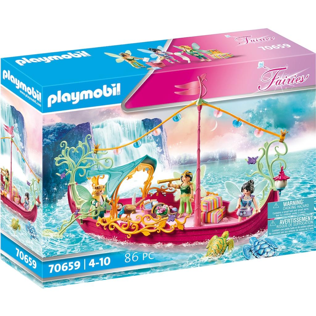 Playmobil® Konstruktions-Spielset »Romantisches Feenboot (70659), Fairies«, (86 St.), mit im Dunkeln leuchtender BlütenlaterneMade in Germany