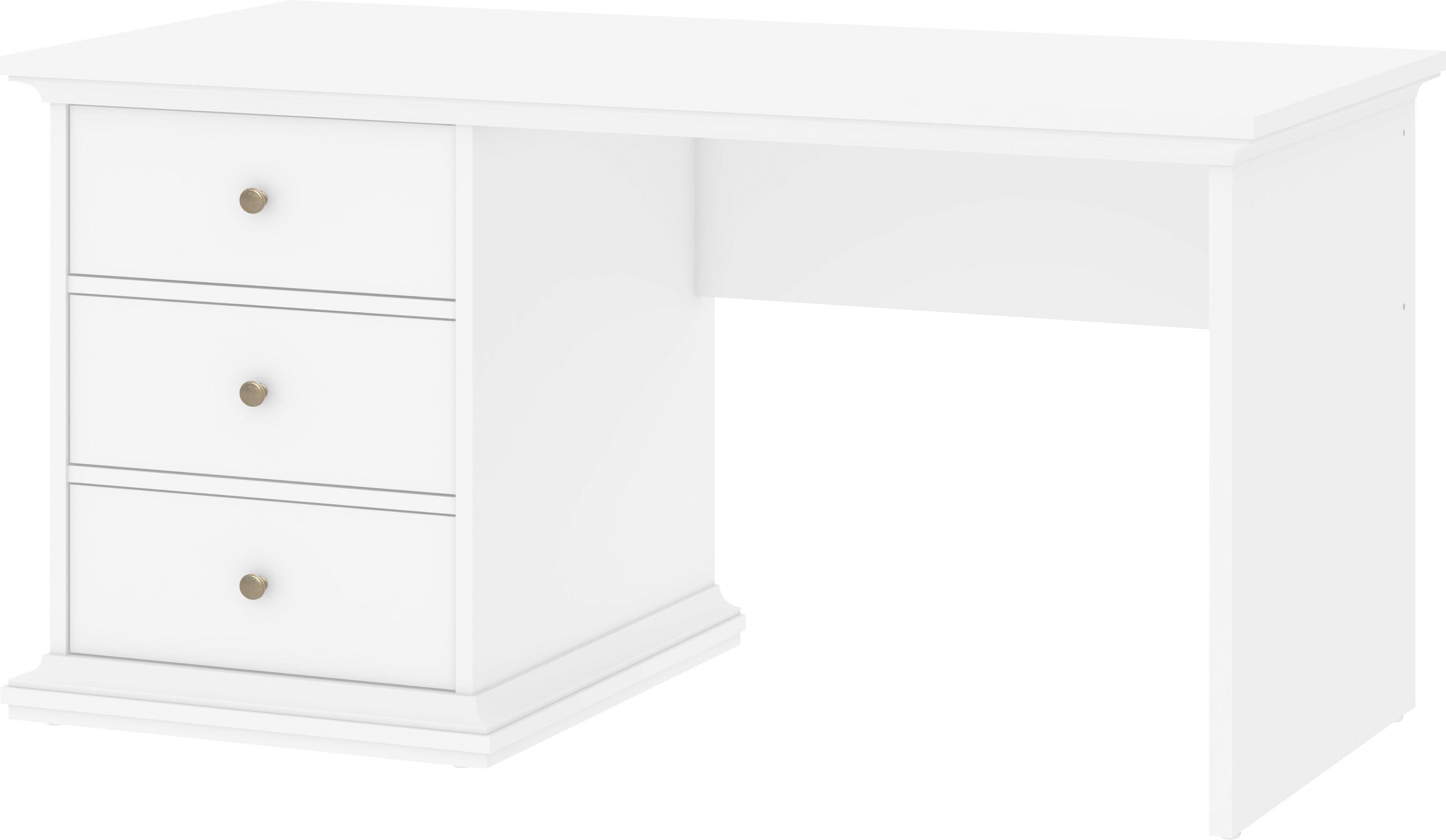 Home affaire Schreibtisch Paris mit 3 abschließbaren Schubladen für freie Raumstellung geeignet Breite 130 cm