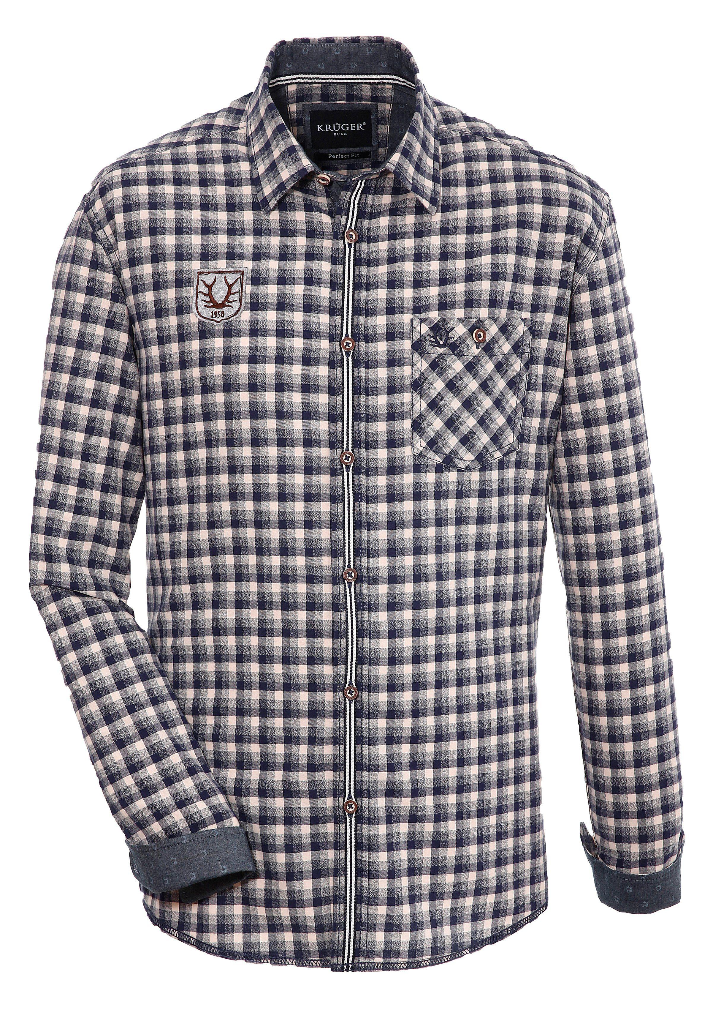 Krüger Buam Trachtenhemd mit Kontrastborten | Bekleidung > Hemden > Trachtenhemden | Blau | Krüger Buam