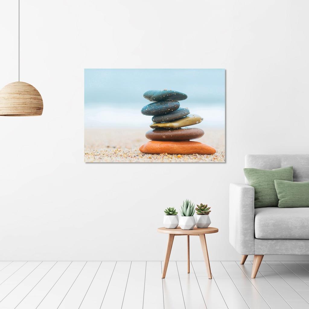 Art & Pleasure Holzbild »Balanced stones«, Landschaften