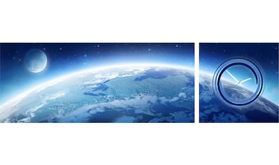Conni Oberkircher´s Bild »Earth & Moon«, Weltraum, (Set), mit dekorativer Uhr kaufen