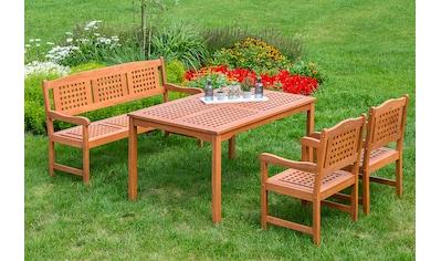 MERXX Diningset »Lima«, 4 - tlg., 2x Sessel, Bank, Tisch 90x147 cm kaufen