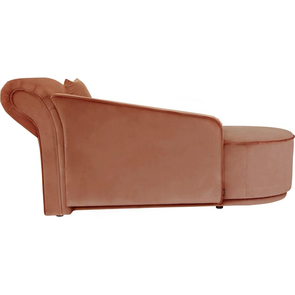 Home affaire Recamiere »Sarah«, mit Keder, geschwungene Rückenlehne, mit Zierkissen, Bezug auch in Luxus-Microfaser in Teddyfelloptik