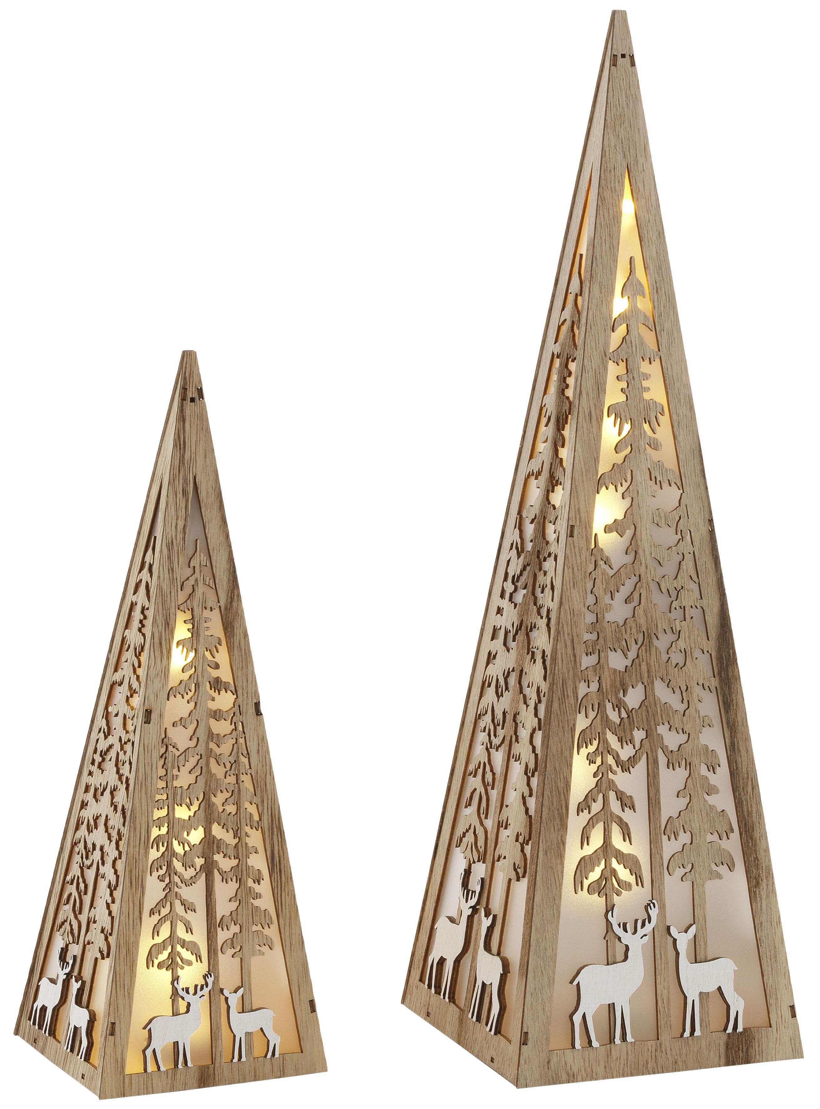 Home affaire LED Dekoobjekt Pyramide, Warmweiß, im 2-teiligen Set, mit liebevollen Details, Höhe ca. 30 + 45 cm