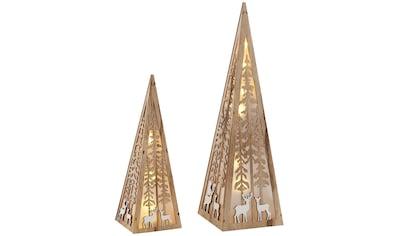 Home affaire LED Dekoobjekt »Pyramide«, Warmweiß, im 2-teiligen Set, mit liebevollen... kaufen