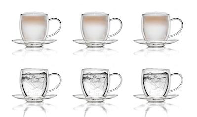 Creano Gläser-Set, (Set, 6 tlg., 6 Tassen, 6 Untertassen), Borosilikatglas, 250 ml kaufen