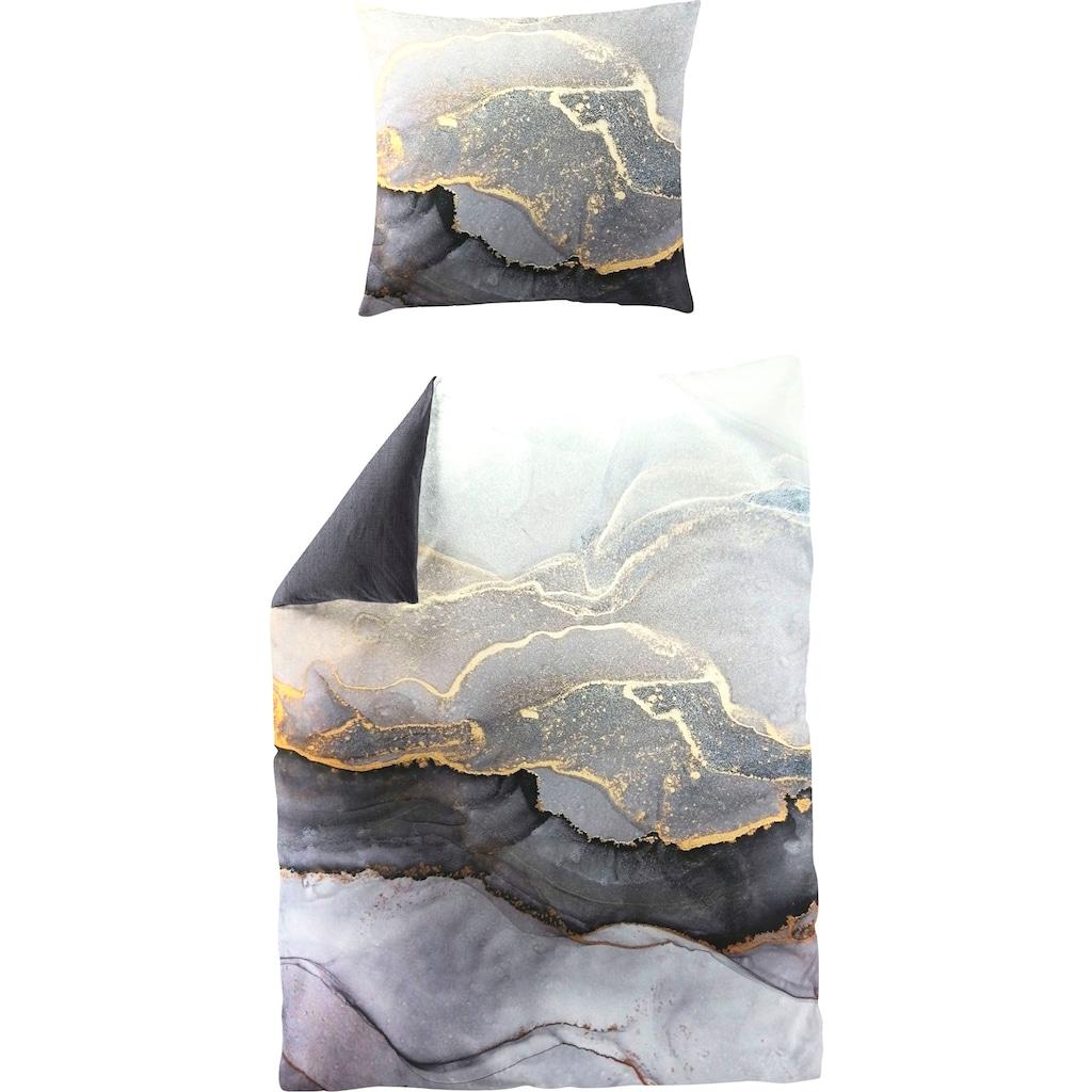 BIERBAUM Wendebettwäsche »Grey Stone«, mit phantasievollem Print