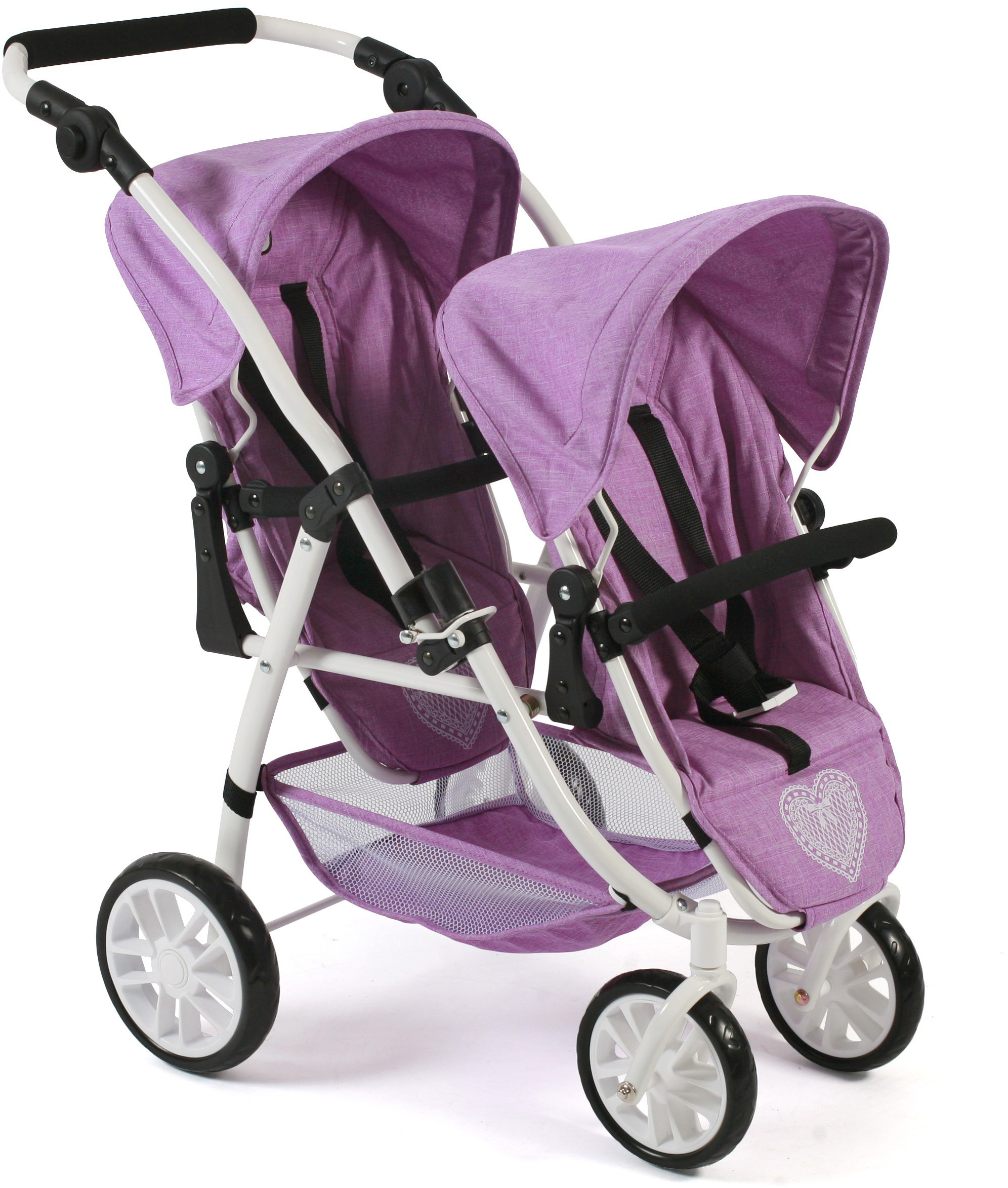CHIC2000 Puppen-Zwillingsbuggy Tandem-Puppen-Buggy Vario, flieder lila Kinder Puppenzubehör Puppen Puppenwagen