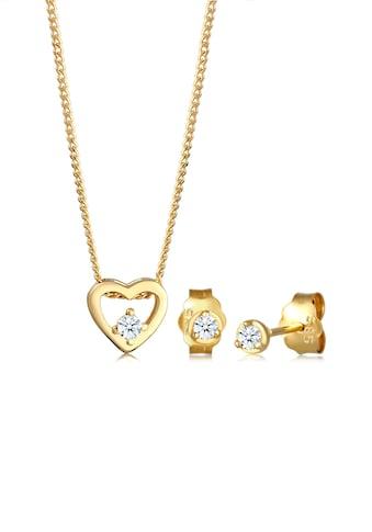 Diamore Schmuckset »Herz Liebe Solitär Diamant (0.09ct.) 585 Gelbgold« kaufen