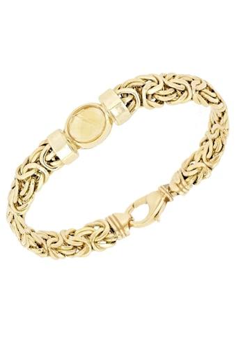 Firetti Goldarmband »Königskettengliederung, glänzend, flach, beidseitig bombiert, facettiert in der Mitte«, mit Citrin kaufen