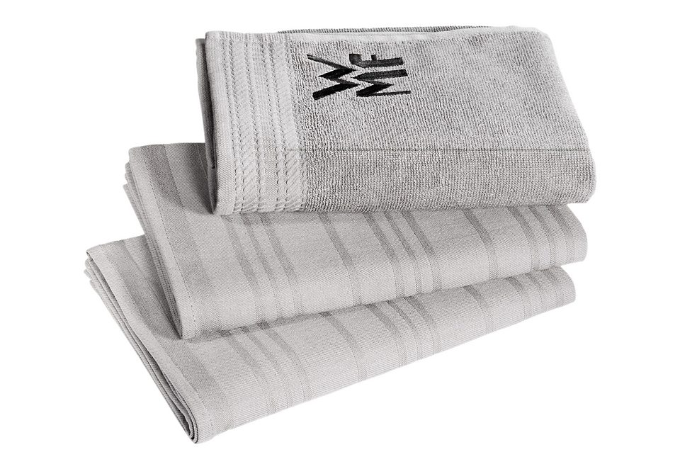 WMF Geschirrtuch, (Set, 3 tlg.), 100% Baumwolle, mit aufgesticktem Logo grau Geschirrtuch Geschirrtücher Küchenhelfer Haushaltswaren