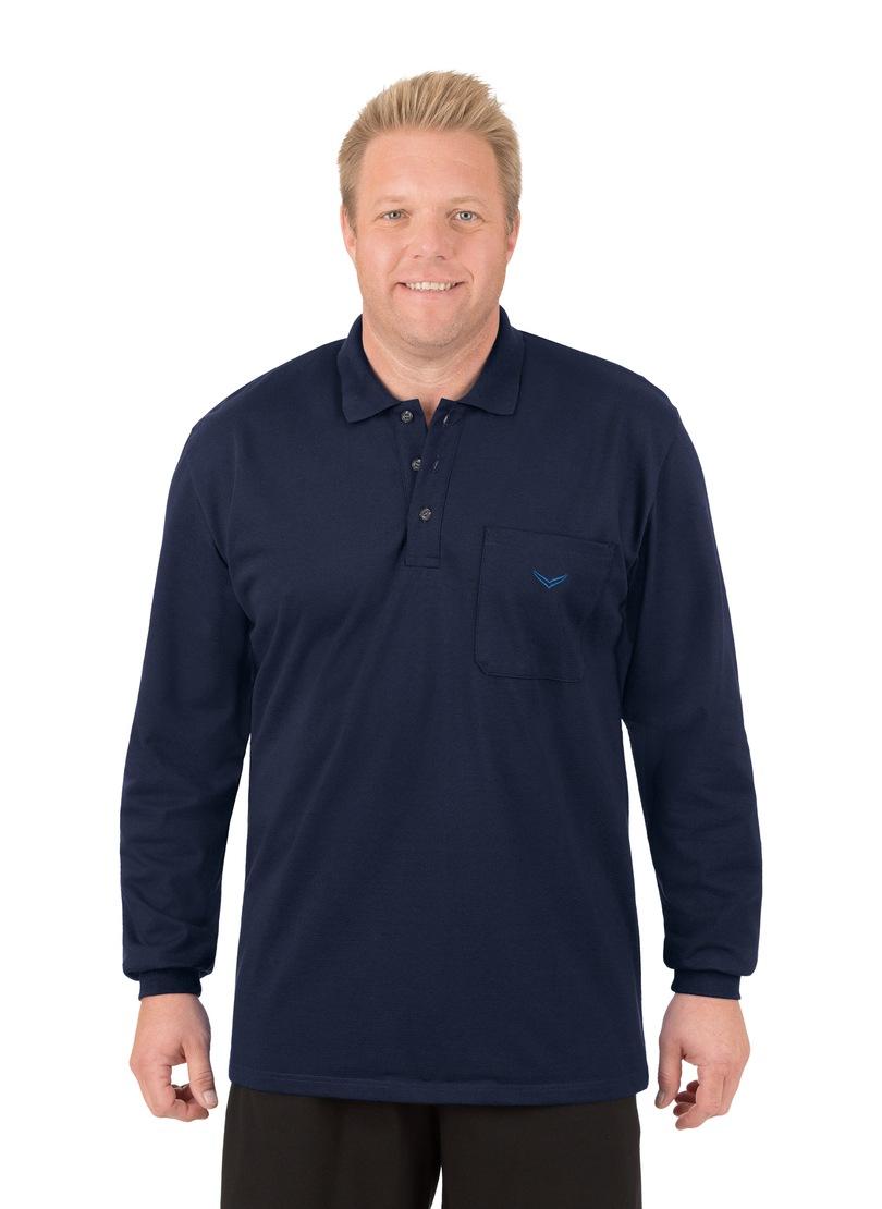 TRIGEMA Langarm Poloshirt aus Baumwolle | Bekleidung > Shirts > Langarm Shirts | Blau | Baumwolle | Trigema