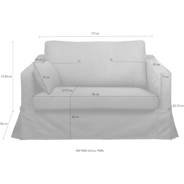 Home affaire Loveseat »Almeria« (Loveseat Hussensofa mit Knopfoptik)