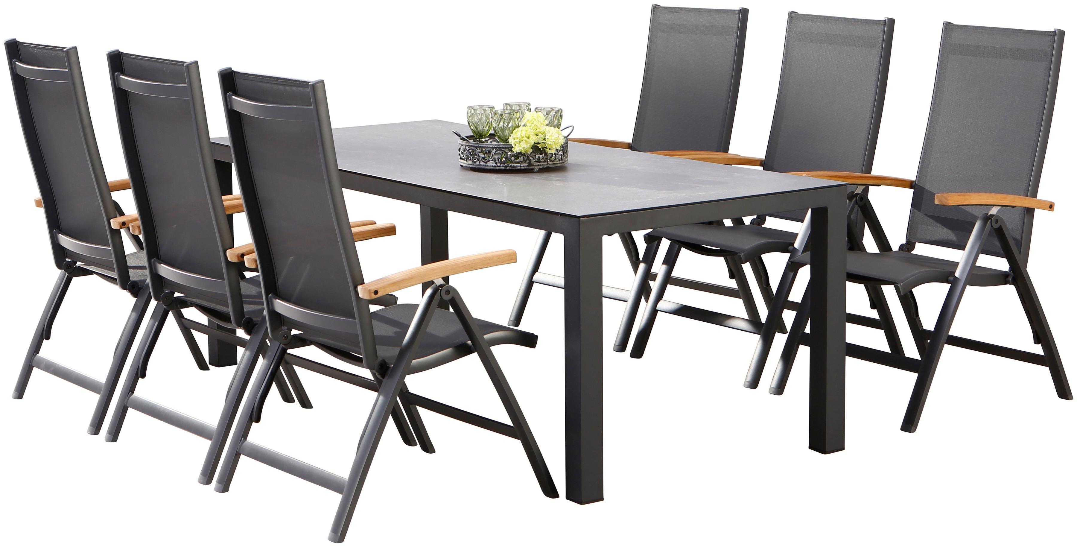 BEST Gartenmöbelset Cavalese 7-tlg 6 Sessel Tisch 210x90 cm Alumimium