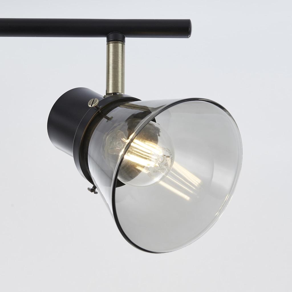 Brilliant Leuchten Ronald Spotrohr 3flg schwarz/antik messing/Rauchglas