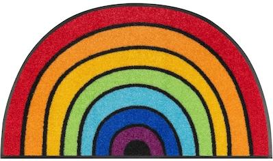 wash+dry by Kleen-Tex Fußmatte »Round Rainbow«, halbrund, 7 mm Höhe, Fussabstreifer, Fussabtreter, Schmutzfangläufer, Schmutzfangmatte, Schmutzfangteppich, Schmutzmatte, Türmatte, Türvorleger, In- und Outdoor geeignet, waschbar kaufen