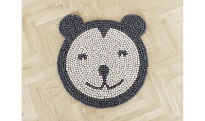 Wooldot Kinderteppich »Bär«, rund, 23 mm Höhe, Filzkugelteppich, 100 % Wolle, Handarbeit kaufen