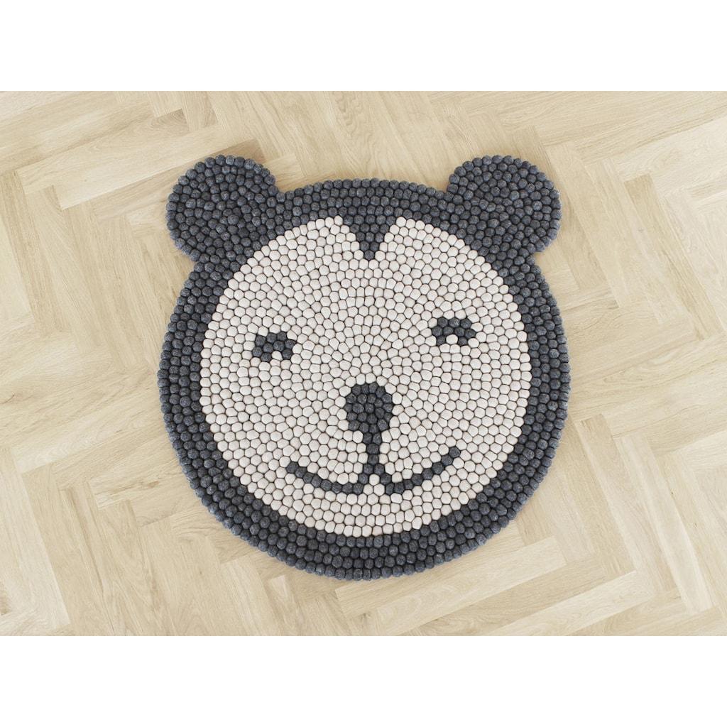 Wooldot Kinderteppich »Bär«, rund, 23 mm Höhe, Filzkugelteppich, 100 % Wolle, Handarbeit