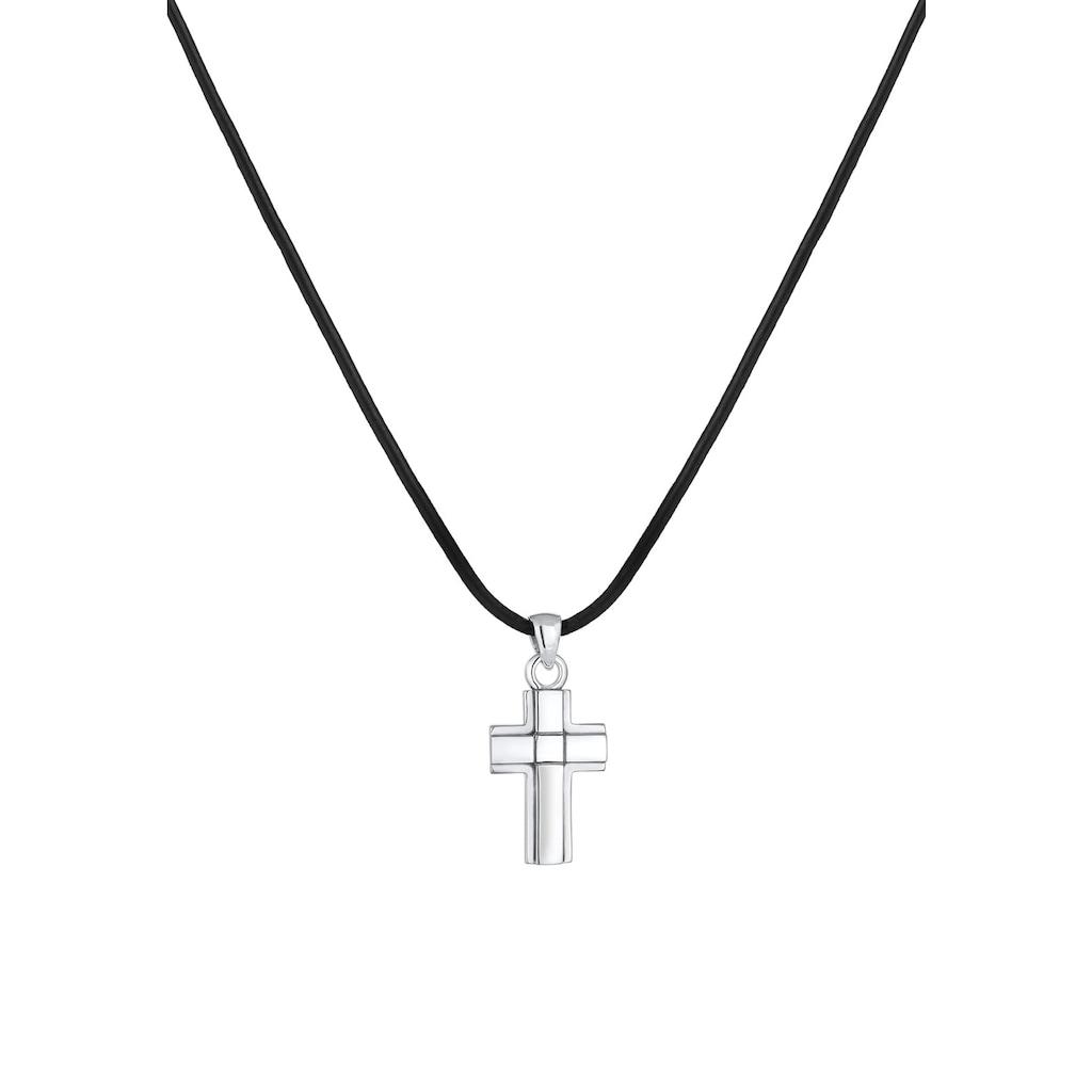 Kuzzoi Lederband »Kreuz Symbol Anhänger Echtleder Oxid 925er Silber«