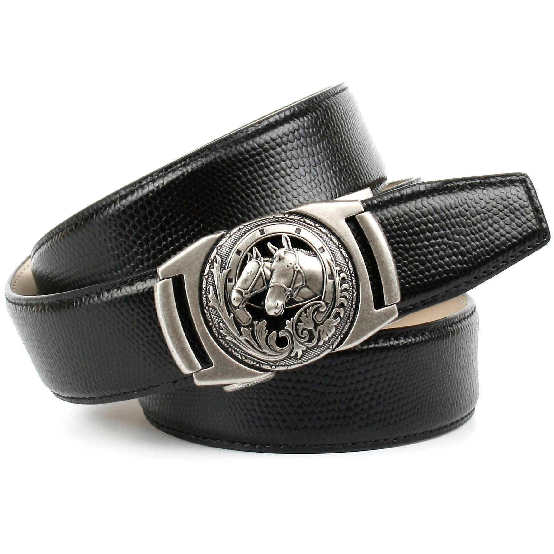 Anthoni Crown Ledergürtel, mit Metallschnalle Pferde-Emblem schwarz Damen Ledergürtel Gürtel Accessoires