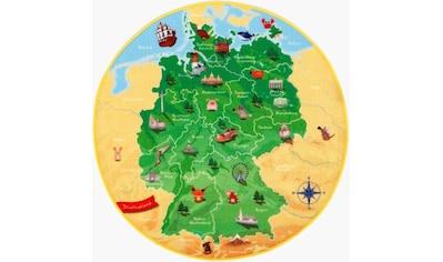 Böing Carpet Kinderteppich »DeutschlandKarte DE-1«, rund, 2 mm Höhe, Spielteppich, Motiv Deutschlandkarte kaufen