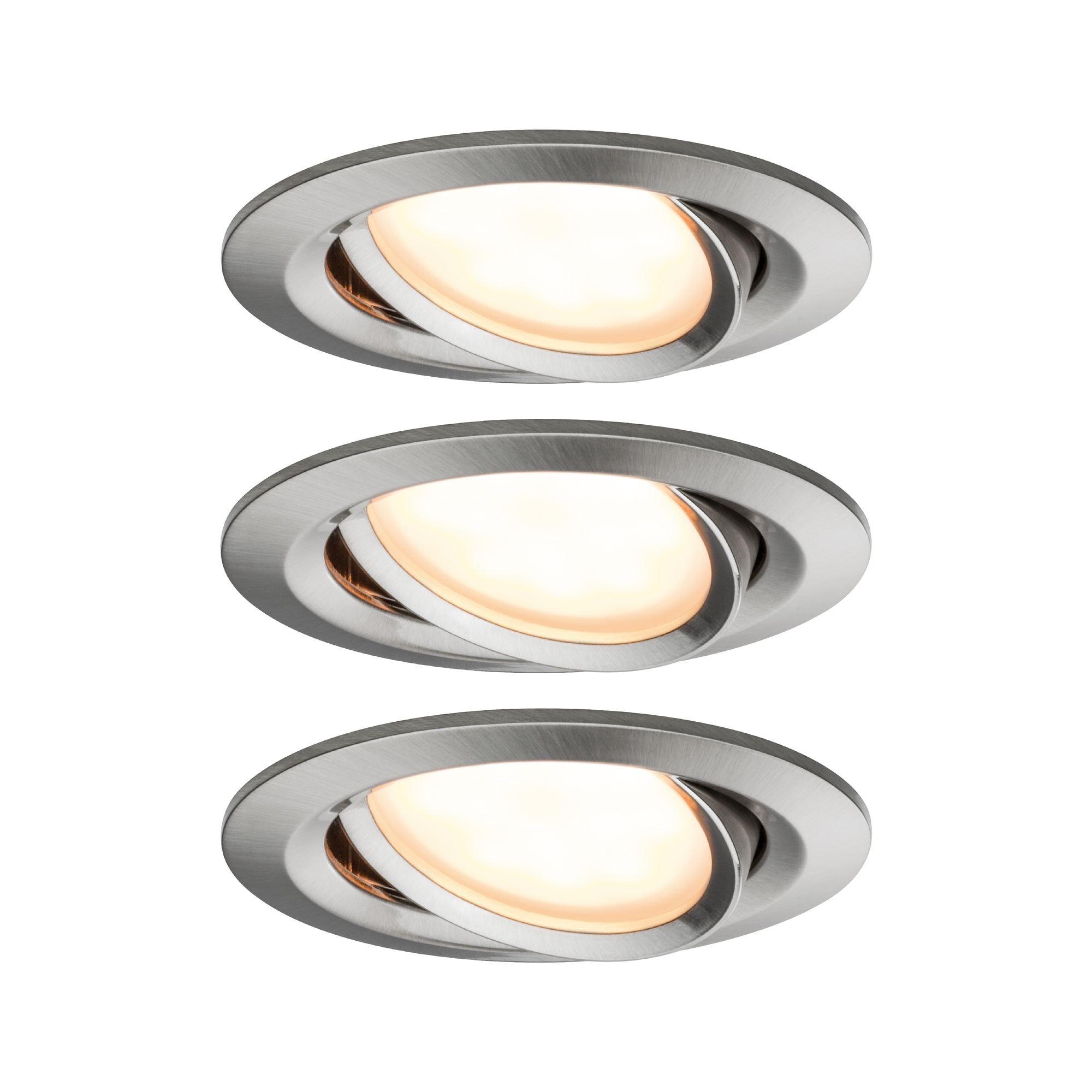 Paulmann,LED Einbaustrahler SmartHome Coin 6W Eisen 3er-Set WarmDim schwenkbar Steuerung per App via Bluetooth