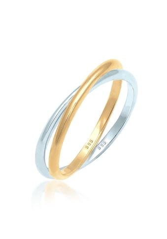 Elli Fingerring »Wickelring Bi-Color Zeitlos 585 Gelbgold Weißgold« kaufen