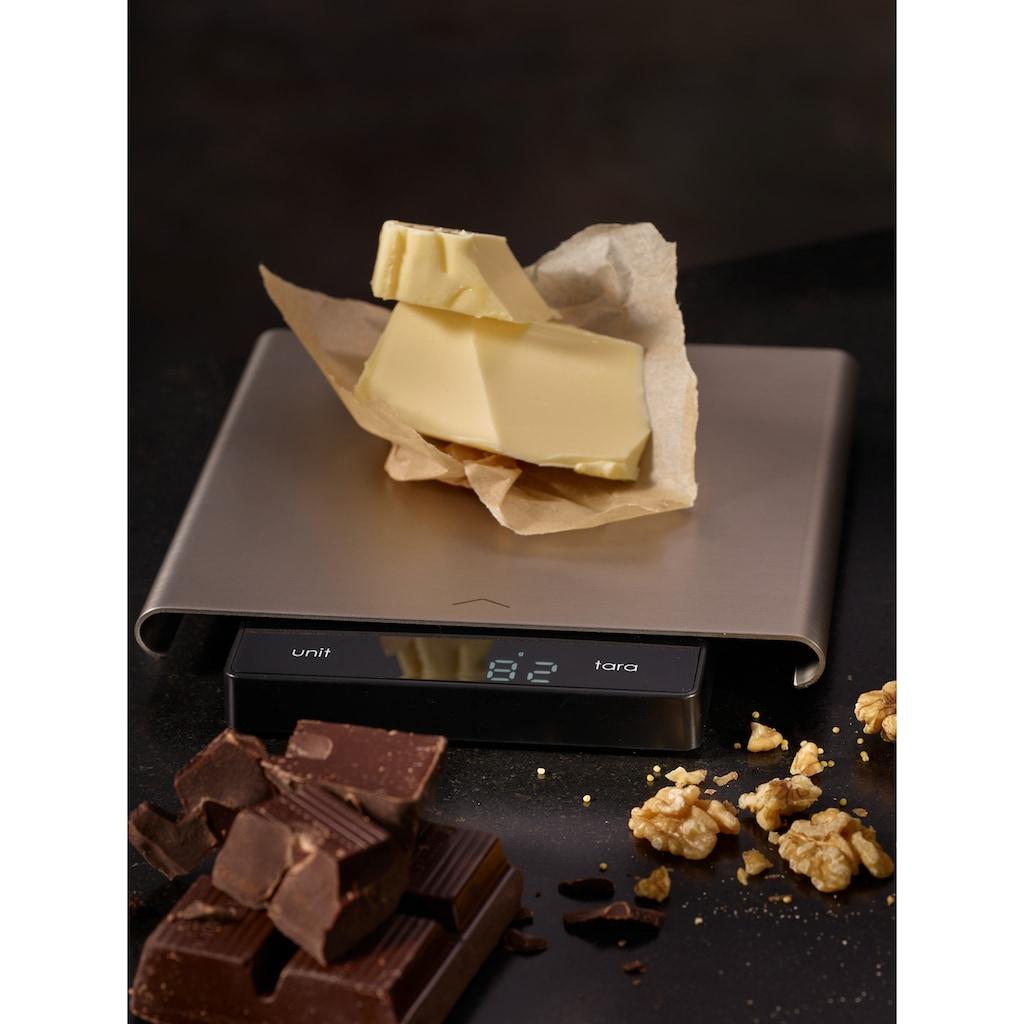 RÖSLE Küchenwaage, (1 tlg.), digitale Küchenwaage mit Wiegefläche aus Edelstahl, LCD-Display, Soft-Touch-Tasten, Tragkraft bis 5 kg