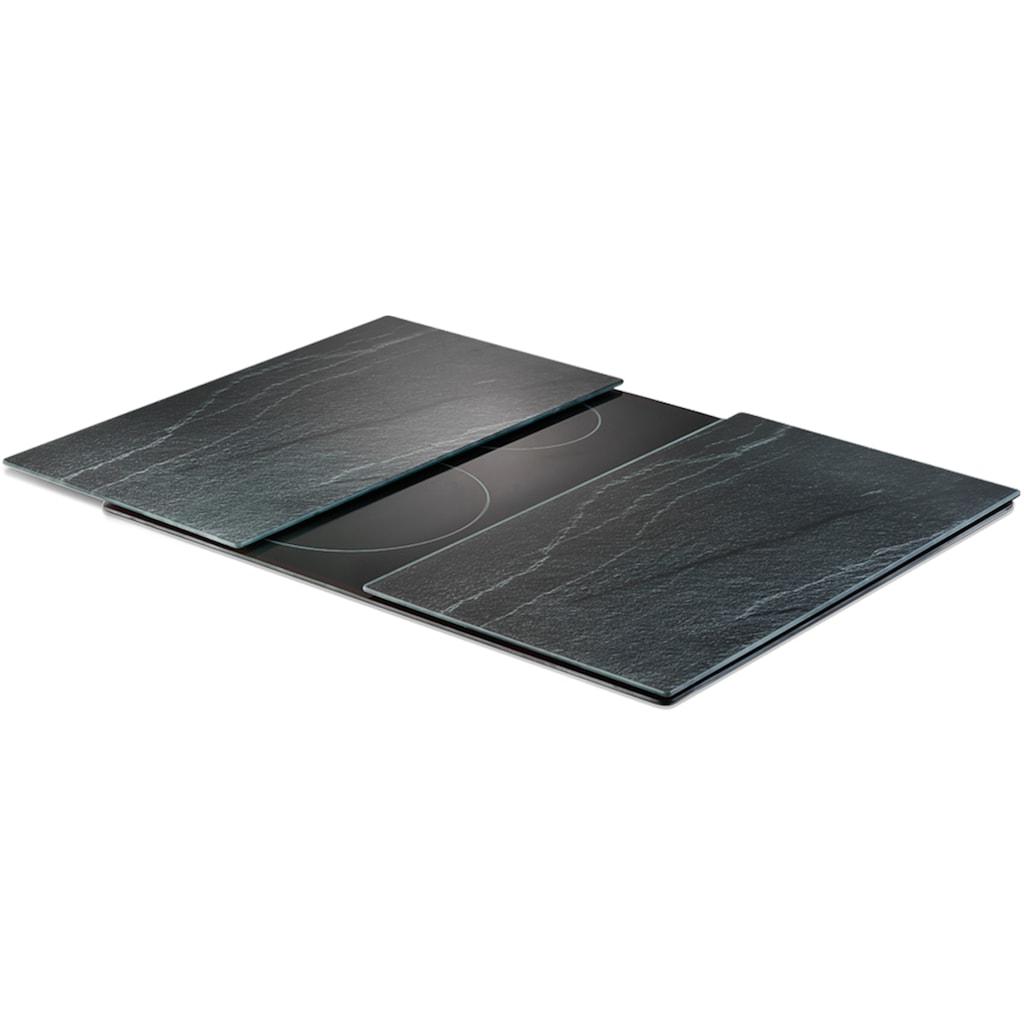 Zeller Present Schneide- und Abdeckplatte »Schiefer«, (Set, 2 tlg.), 6 rutschfesten Elastikfüßen pro Platte