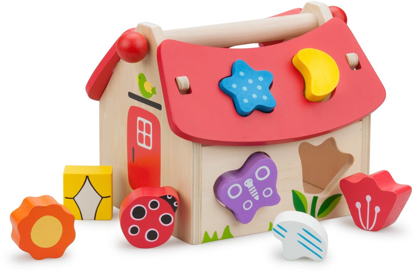 New Classic Toys Steckspielzeug Haus bunt Kinder Steck- Stapelspielzeug Baby Kleinkind