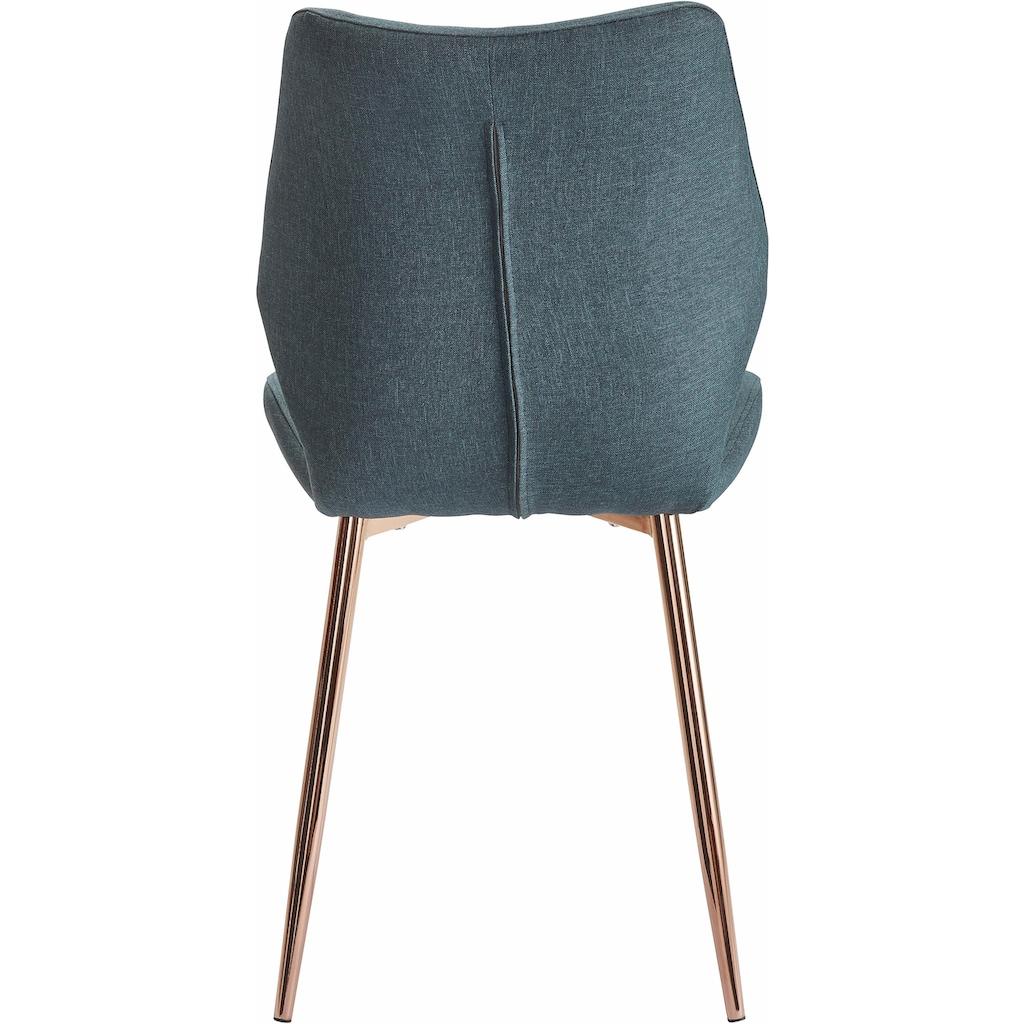 Esszimmerstuhl »Ayla«, Bezug in Webstoff, Metallgestell kupferfarben