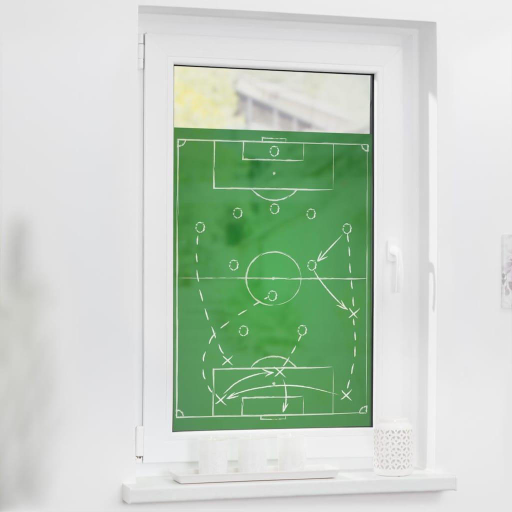 LICHTBLICK ORIGINAL Fensterfolie »Fensterfolie selbstklebend, Sichtschutz, Spieltaktik - Grün Weiß«, 1 St., blickdicht, glattstatisch haftend