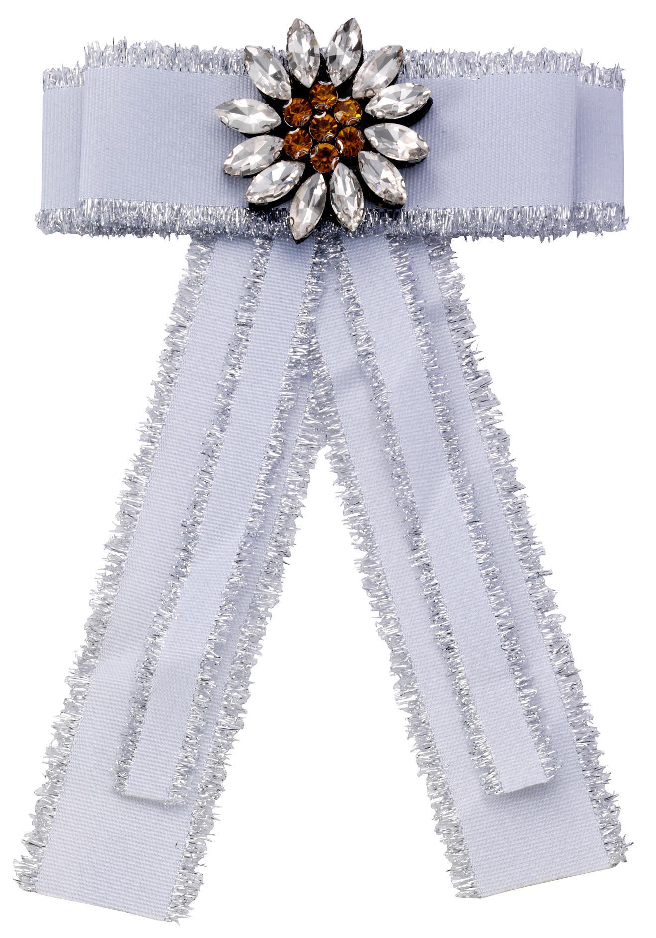 JJayz Brosche Ansteckschmuck in Form einer Schleife mit dekorativer Blume   Schmuck > Broschen   Weiß   J.Jayz