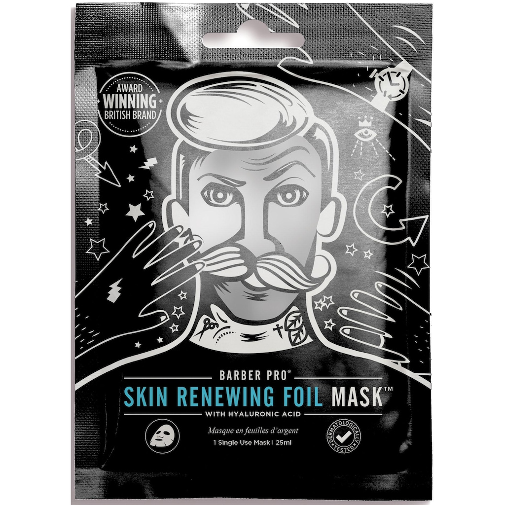 BARBER PRO Gesichtsmaske »RENEWING FOIL MASK™«, Thermo-Folienmaske mit Kollagen, Hyaluron und Q10