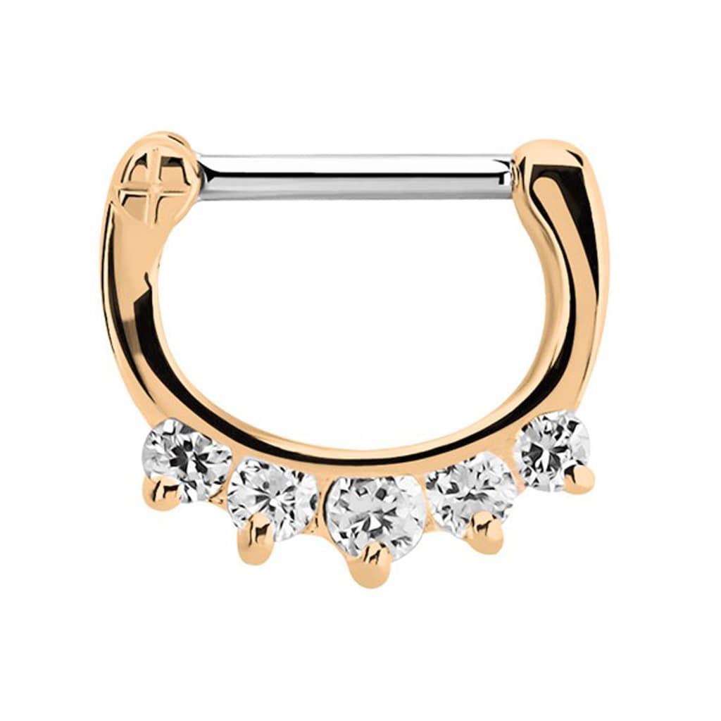 Adelia´s Nasenpiercing »Septum Clicker Nasenpiercing rosegold mit 5 Steinen«, mit 316l Stahlstab als Verschluss Clicker