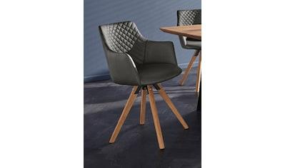 Armlehnstuhl »LISABON«, (2 Stück), mit Drehfunktion, Bezug aus Leder, das Gestell aus Eiche Massivholz geölt kaufen