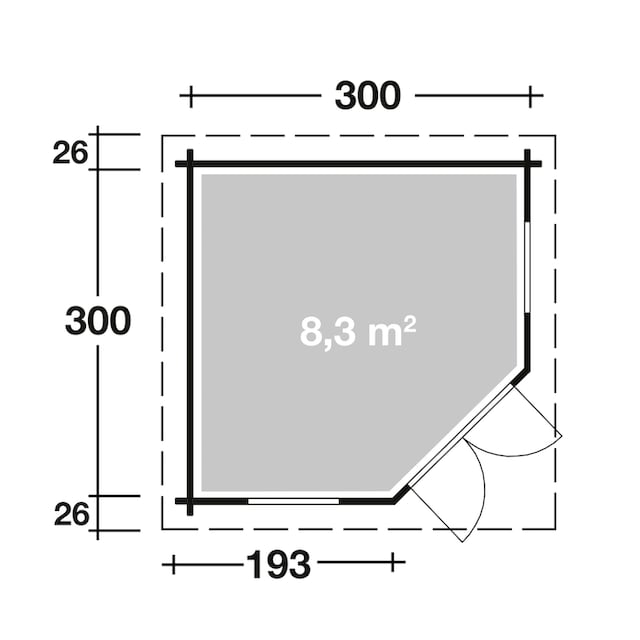 WOLFF FINNHAUS Set: Gartenhaus »Maria 44-A«, BxT: 352x352 cm, Fußboden, schwarze Schindeln, Dachhaube