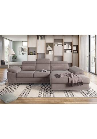 sit&more Ecksofa, mit Sitztiefen- und Armteilverstellung sowie Federkern, wahlweise mit Bettfunktion und Bettkasten, jeweils inklusive 2 Nierenkissen, frei im Raum stellbar kaufen