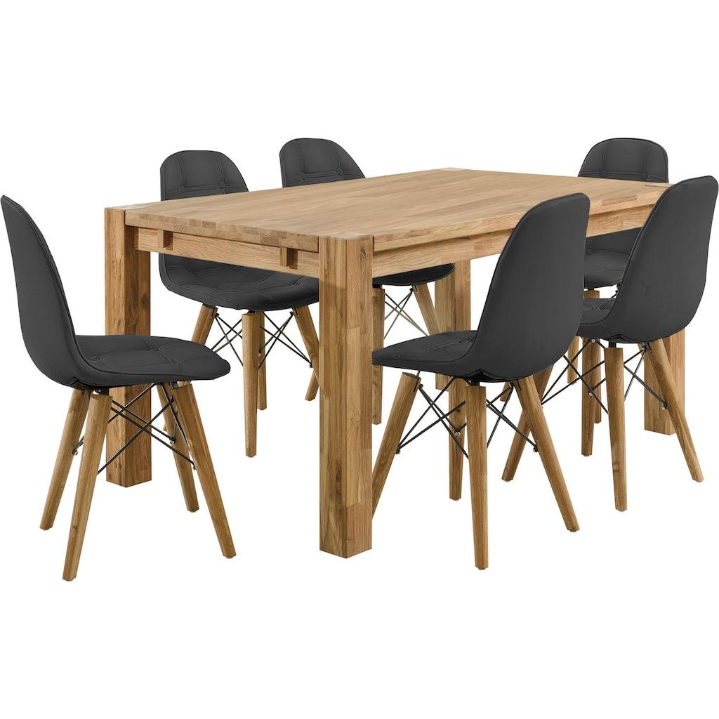 Home affaire Essgruppe »Tim«, (Set, 7 tlg.), bestehend aus 6 Stühlen und einem Esstisch, Esstischbreite 160 cm
