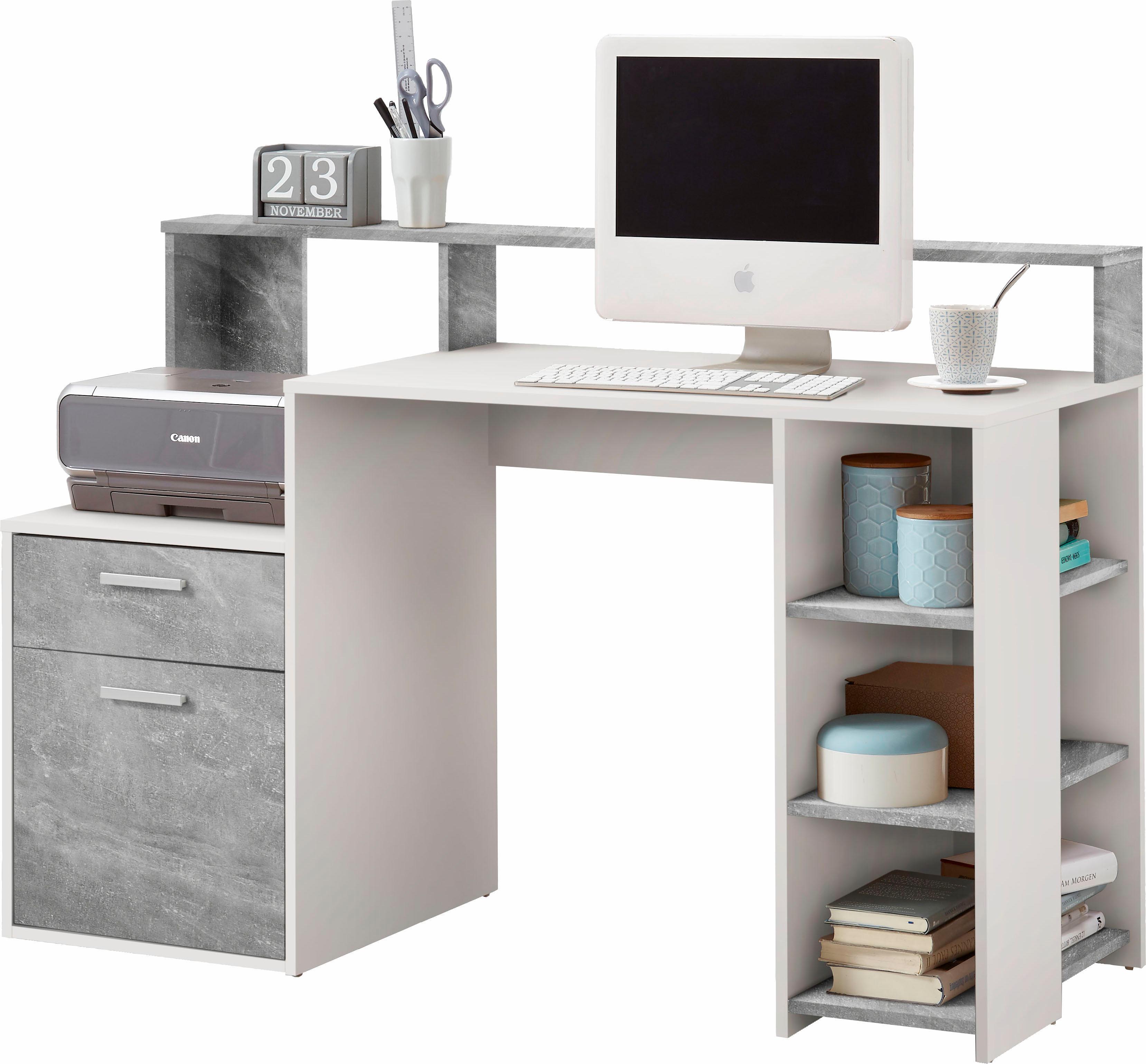 FMD Schreibtisch Bolton mit 3 offenen Fächern