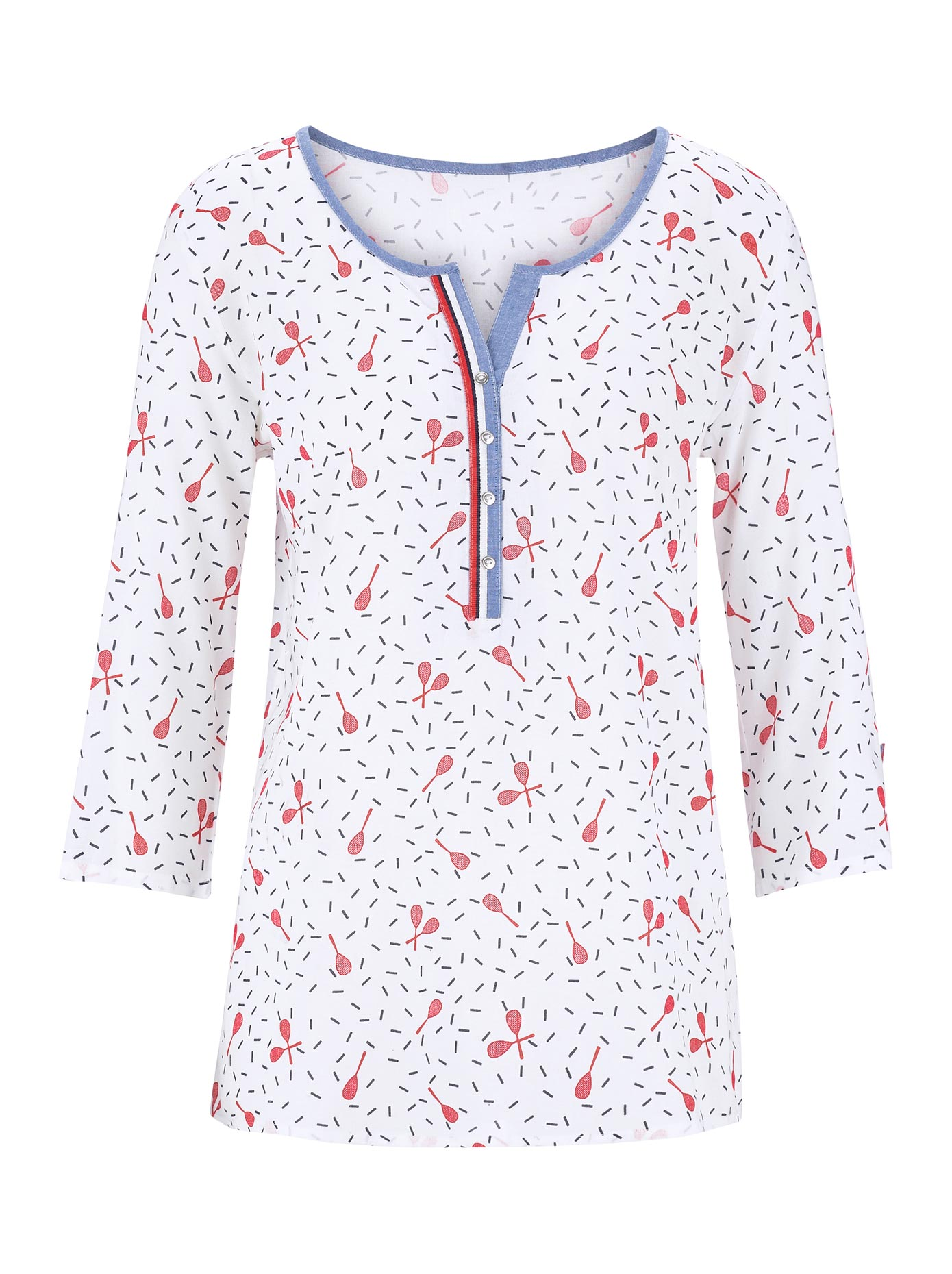 Casual Looks Bluse mit peppigem Tennisschläger-Dessin