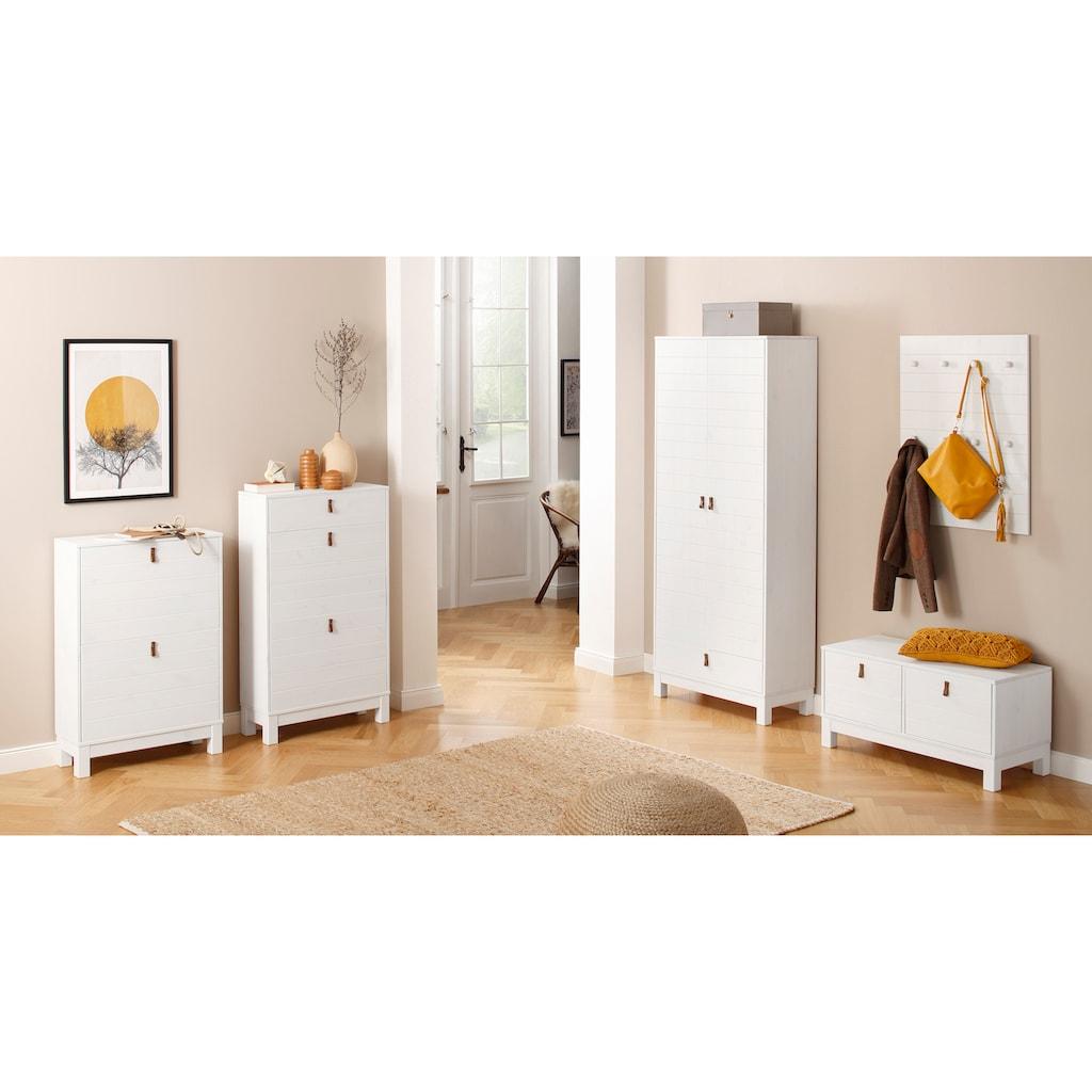 Home affaire Garderobenschrank »Ella«, aus schönem massivem Kiefernholz, in verschiedenen Farbvarianten, Breite 75 cm