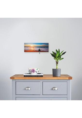 Artland Schlüsselbrett »Sonnenuntergang und das Meer«, aus Holz mit 4 Schlüsselhaken –... kaufen