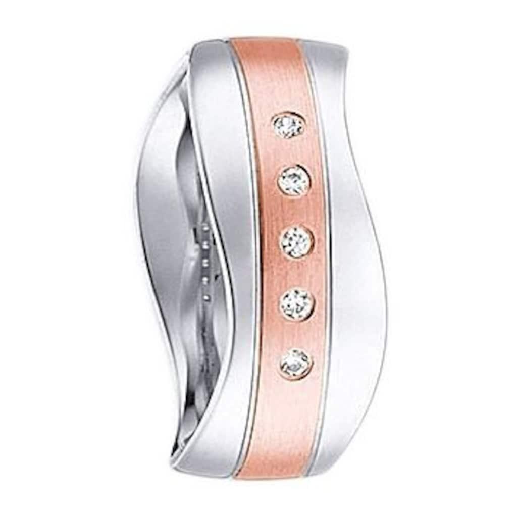 Firetti Trauring mit Gravur »glanz, längs gebürstet, Diamantschnitt, Wellenform, 7,0 mm breit«, wahlweise mit oder ohne Zirkonia