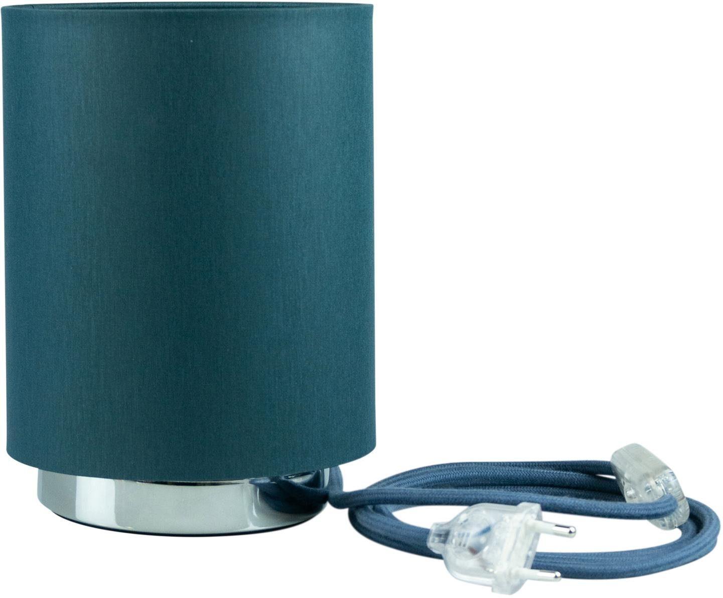 SEGULA Tischleuchte Tischlampe - Chrom-Petrol, 2m Baumwollkabel mit Schalter, E27, Mit Schalter