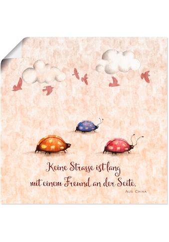 Artland Wandbild »Lebensweisheit Freunde«, Tiere, (1 St.), in vielen Größen &... kaufen