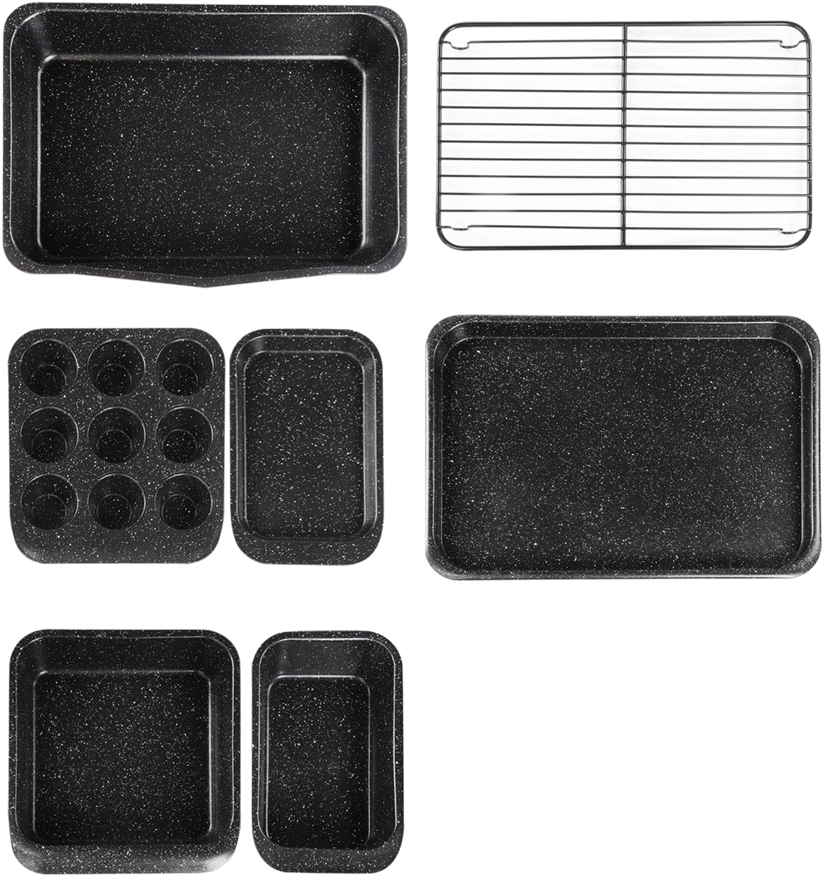 STONELINE Backform, (Set, 7 St.), mit Antihaftbeschichtung schwarz Backform Backformen Backbleche Kochen Backen Haushaltswaren