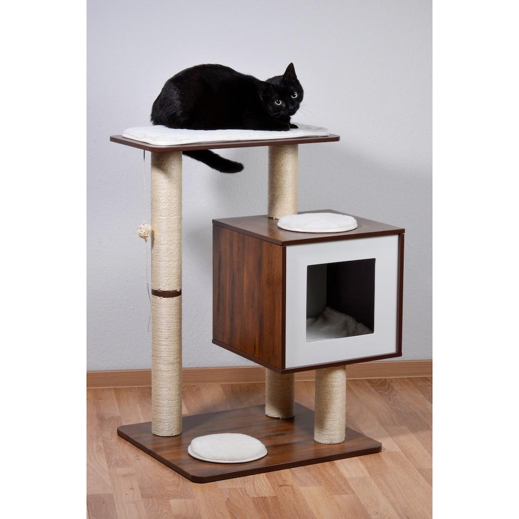 dobar Kratzbaum »Lucy«, hoch, BxTxH: 64x48x80 cm, inkl. Spielball, Katzenhöhle mit flauschigem Katzenbett
