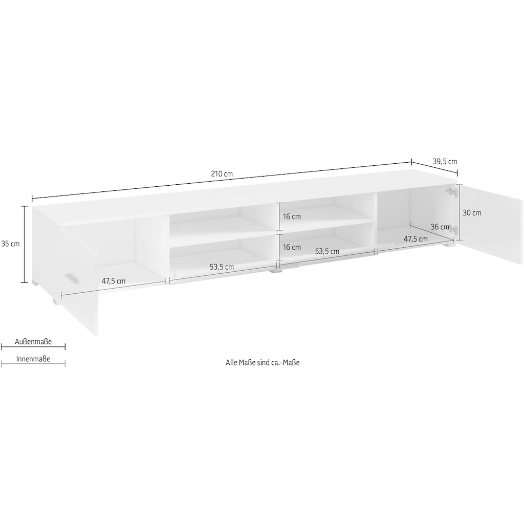 Helvetia Lowboard, Breite 210 cm