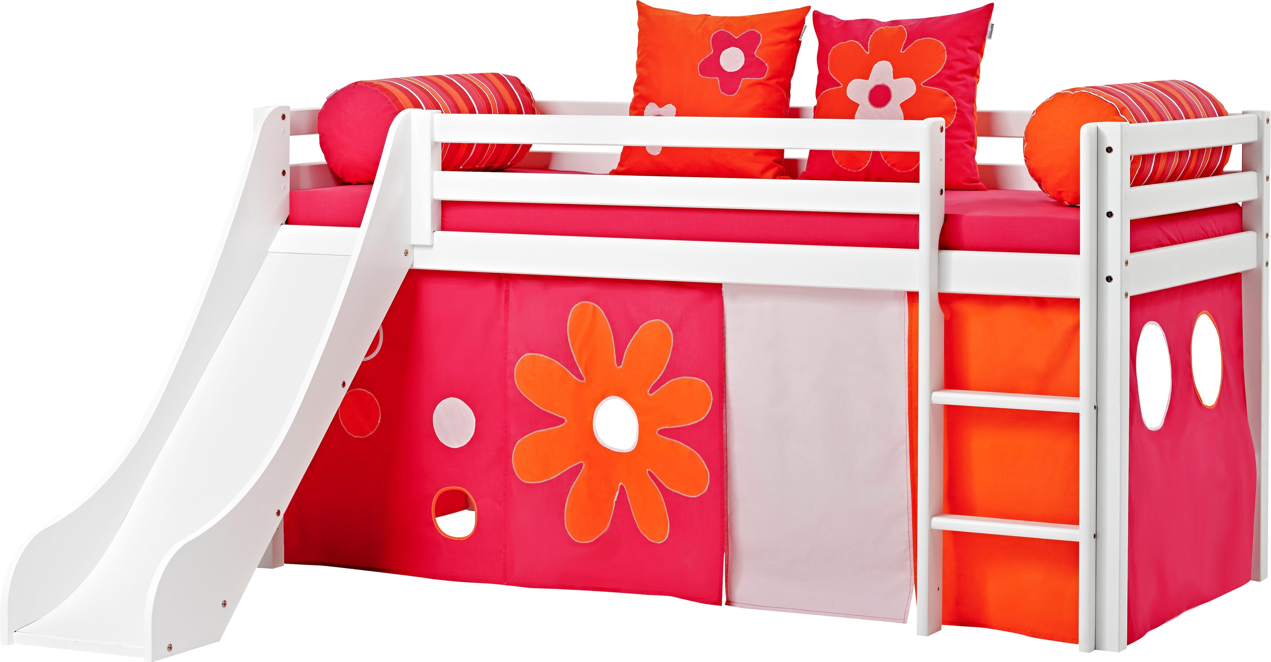 Hoppekids Hochbett, inkl. Rutsche mit Absturzschutzseiten, Matratze und Leiter weiß Kinder Hochbett Kinderbetten Kindermöbel